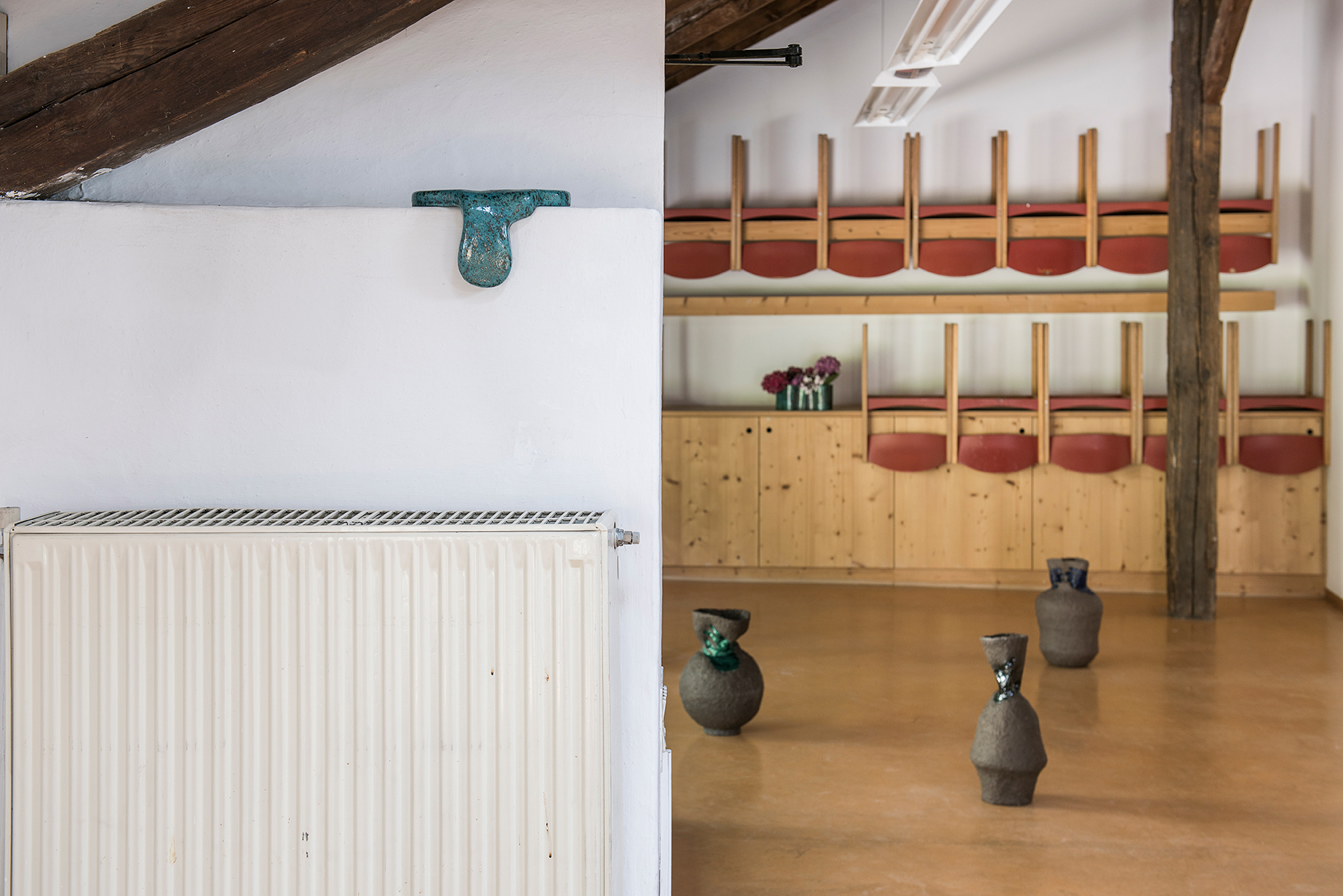 Giles Round, They parted at the end of spring. He couldn't promise anything, 1967, 2017, Glazed earthenware; Lindsay Lawson, Stranglers, 2017, Glazed earthenware