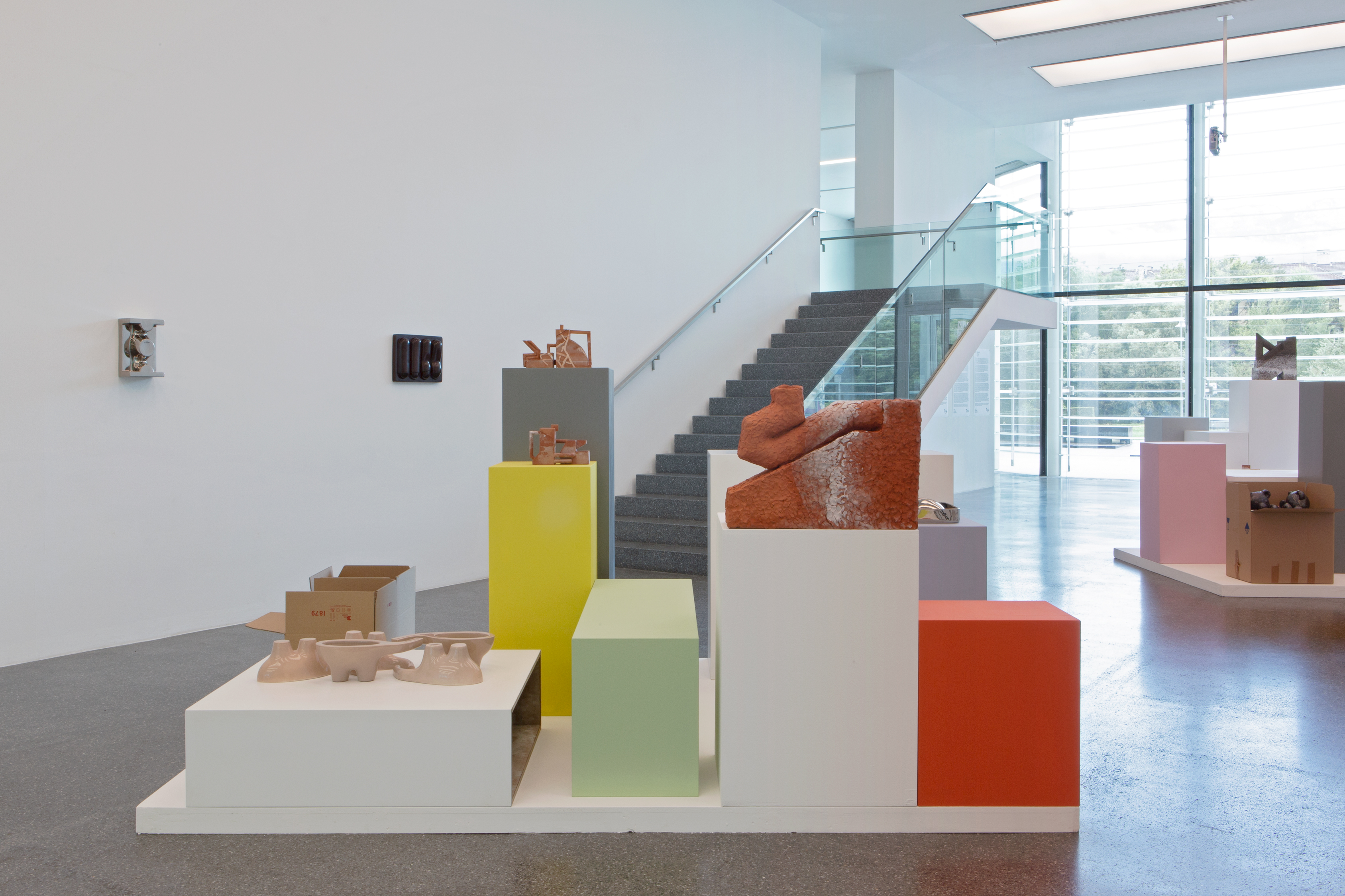 Installation View, Noi – DESHAYES, FOLLY, STURLA, with exhibition design by Giles Round, 2019, Bolzano, Italy